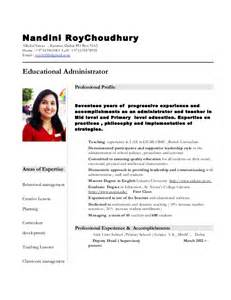 Resume Format For Teachers In India by Nandini Resume