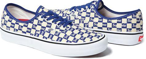 blue pattern vans supreme vans checkerboard sole collector