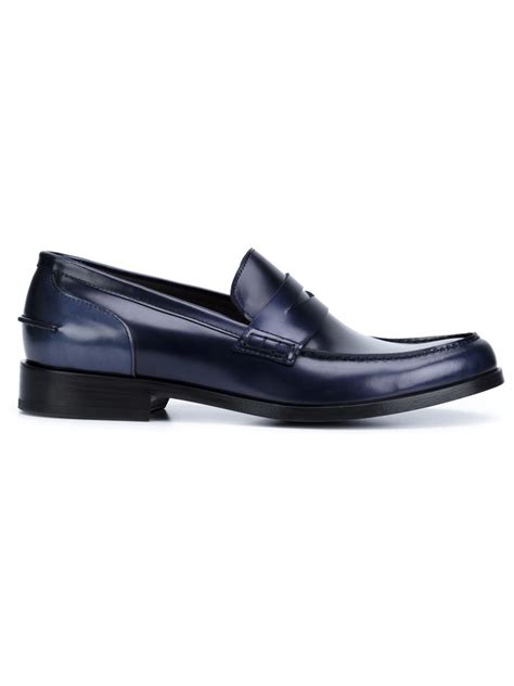 lanvin loafers lanvin classic loafers in blue for lyst