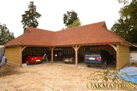 l shaped garages open l shaped oak garage with gablet hip roof 5009 oakmasters