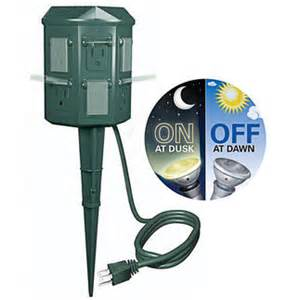 outdoor electrical timers for lights stanley light yard power stake