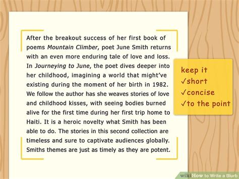 How To Write A Blurb 13 Steps With Pictures Wikihow Writing A Blurb Template