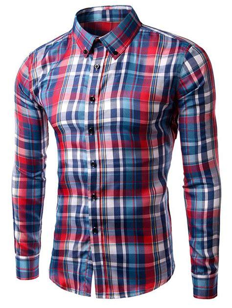 Atasan U063 Plaid Collar Sleeve turn collar sleeve plaid shirt plaid sleeve and sleeve