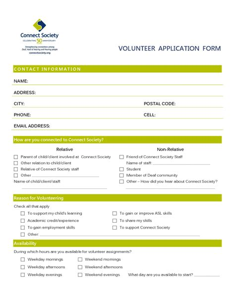 volunteer application template volunteer application templates word excel sles