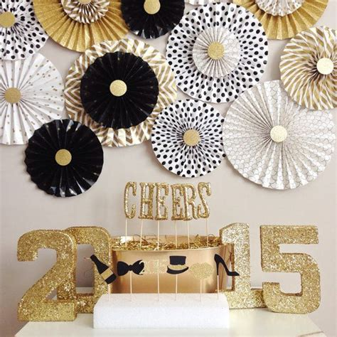 new year fan decoration backdrop black white and gold glitter new