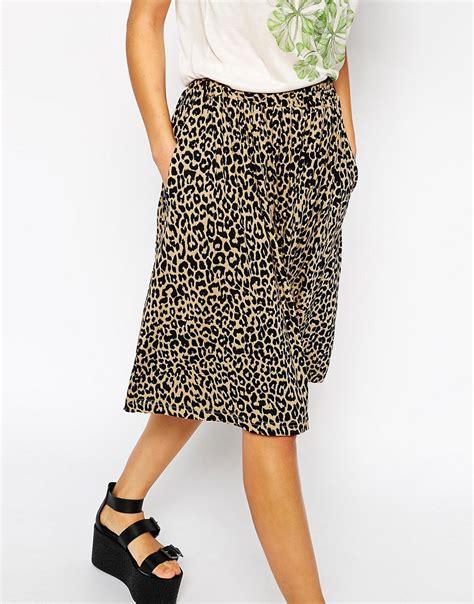 ganni ganni leopard print midi skirt at asos
