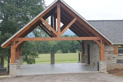 hewn timber frame carport rustic garage and shed