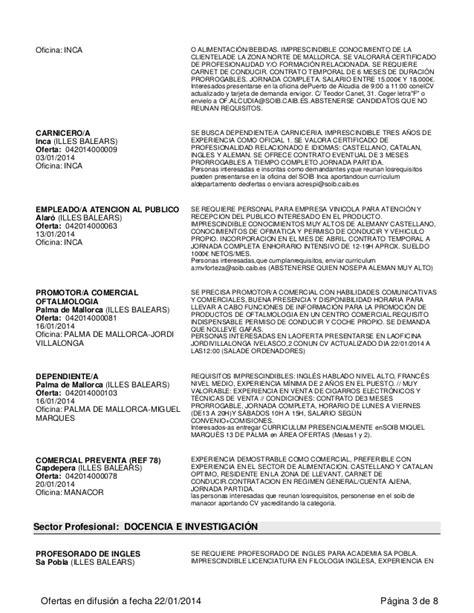 oficina soib inca ofertas empleo soib enero 2014