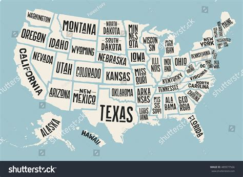 poster map of usa poster map united states america state stock vector