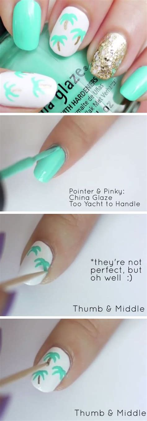 easy nail art palm tree 20 awesome summer nail designs for summer 2017