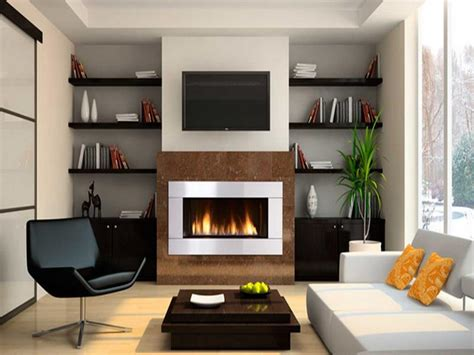 modern gas fireplace with shelving design gas fireplaces