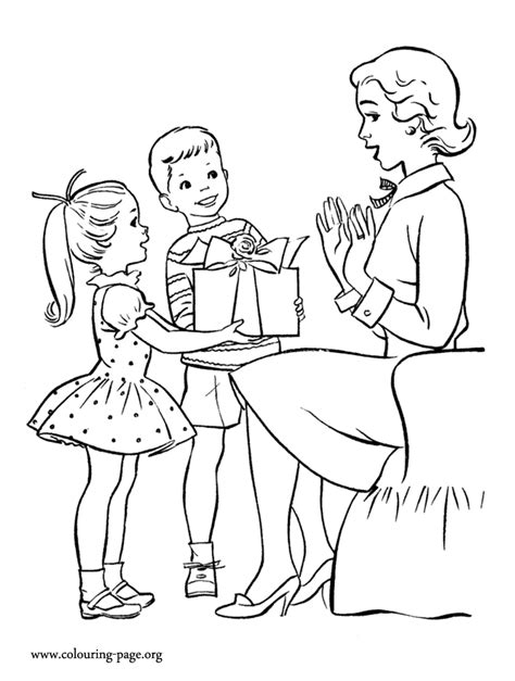 Mother S Day Kids Giving Gifts To Mom Coloring Page Giving Coloring Pages