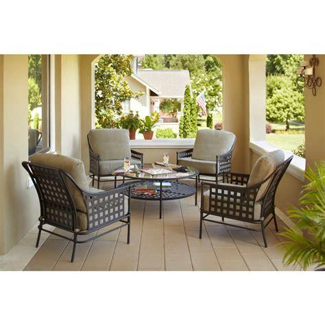Hampton Bay Lynnfield 5 Piece Patio Conversation Set with