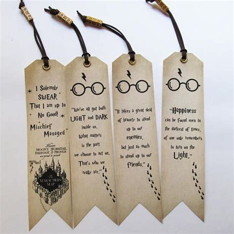 Handmade Bookmarks With Quotes - handmade harry potter bookmarks set of 4 quotes bookmarks