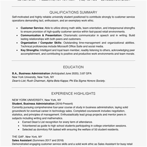 students resume summary examples for college financial planner