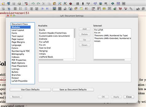 lyx layout exles environments modify exle dropdown in memoir tex