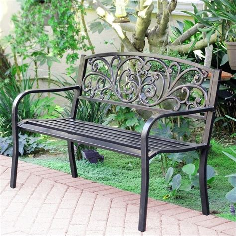 metal park benches jeco 50 quot w scroll curved back steel park bench in black and