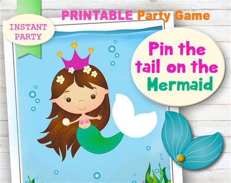 small pin the tail on the mermaid printable party