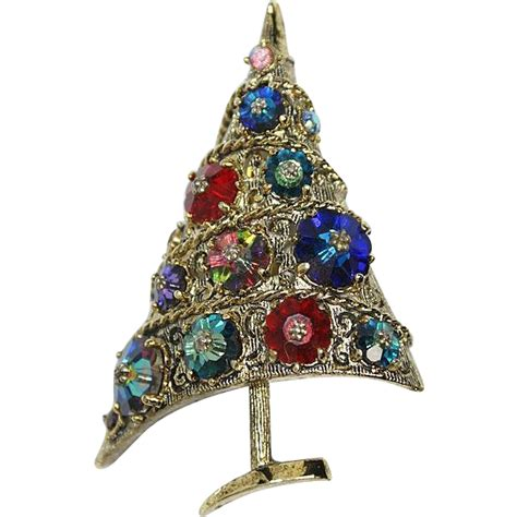 weiss colorful margarita stone christmas tree pin brooch