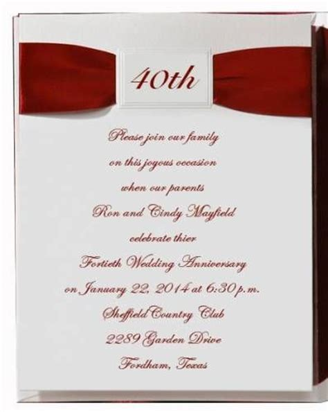 wedding anniversary invitation wording ideas 3 40th anniversary invitation wording ideas 40th
