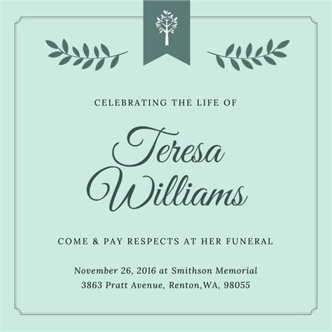 Customize 40 Funeral Invitation Templates Online Canva Funeral Invitation Template