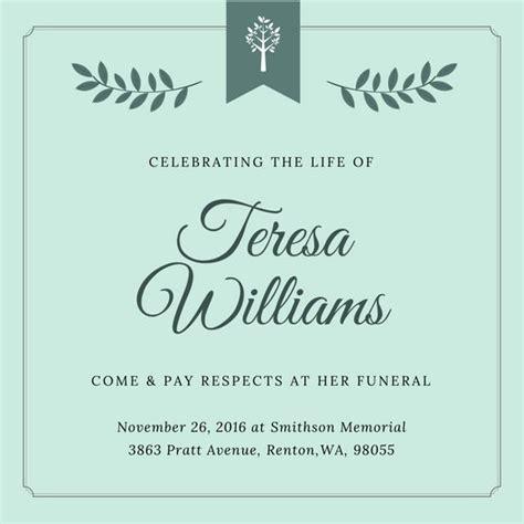 Customize 40  Funeral Invitation templates online   Canva