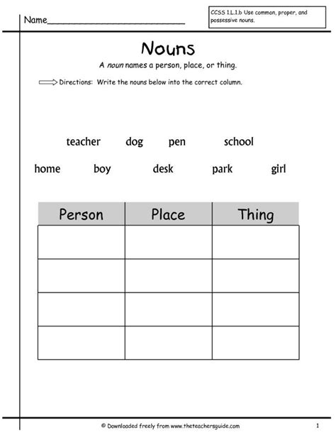 nouns worksheet for grade 1 wonders first grade unit two