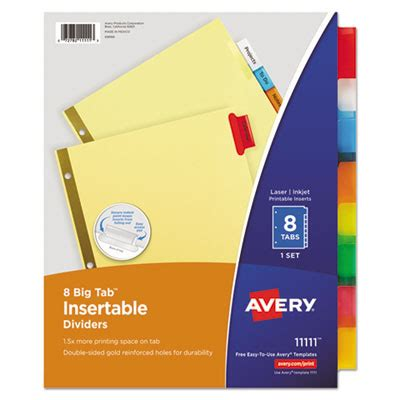 Ave 11111 Avery Insertable Big Tab Dividers 8 Tab Letter Avery 11370 Template