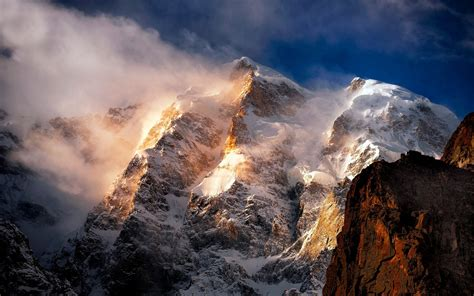 nature landscape mountain wind sunrise snowy peak
