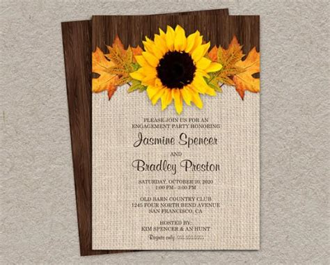 Wedding Falls Out Of Car by Fall Engagement Invitation With Sunflower And Leaves