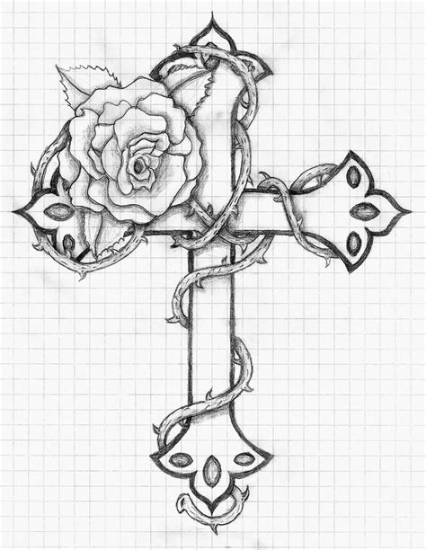 cross and rose tattoo designs and cross design