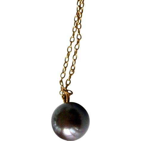 black gold chain black cultured pearl trifari 14k gold chain from artsnends