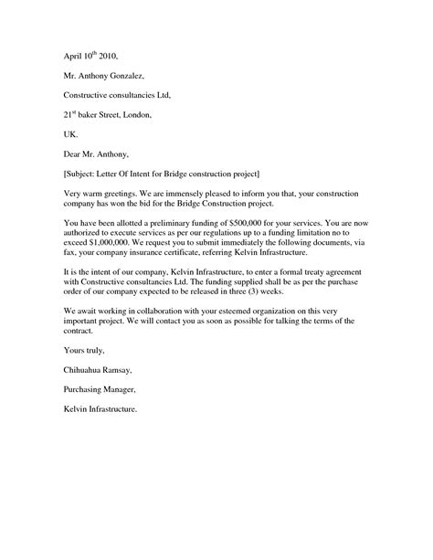 letter of intent template construction subcontractor letter of intent template exles letter