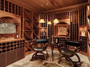 Cool leather chairs plus yellow pendant lights feat creative wine wall