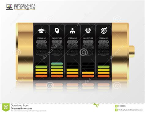 modern design elements gold battery with infographic elements modern design