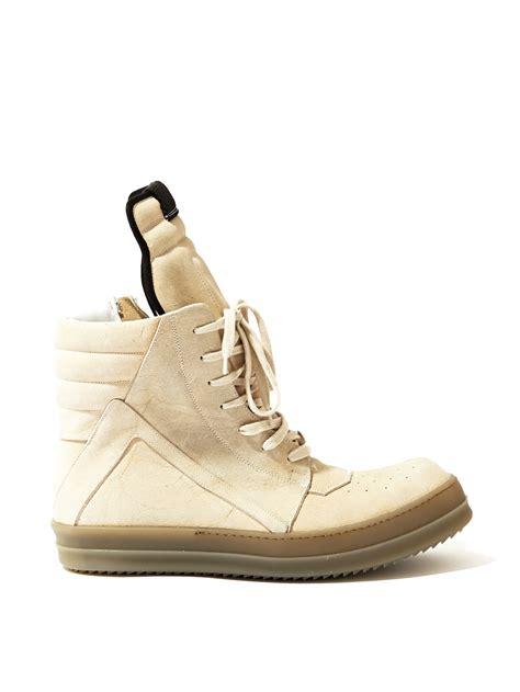 rick owens mens suede geobasket sneakers in beige for