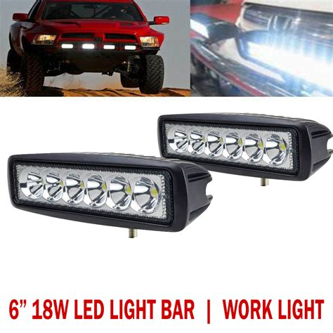 18w 6 Inch Led Light Bar Work Light Offroad 4wd Suv Atv Boat 6 Led Light Bar