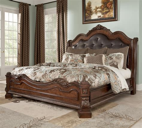 ortanique upholstered bench lordella traditional queen bed with sleigh headboard