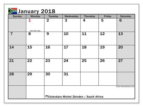 printable calendar south africa 2018 calendar january 2018 south africa