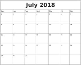 Calendar 2018 July And August July 2018 Print Monthly Calendar