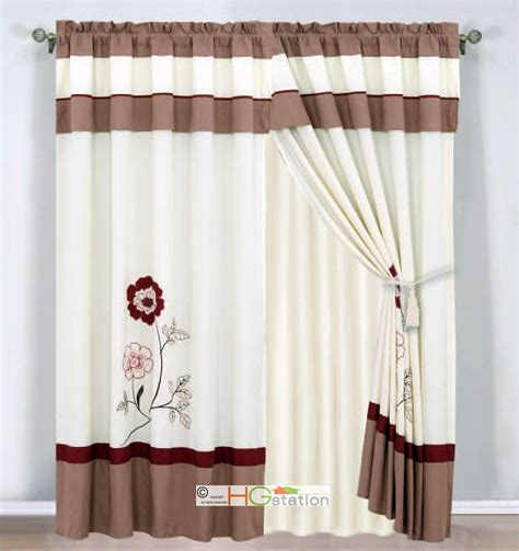 burgundy striped curtains 4 pc embroidered striped floral curtain set ivory burgundy