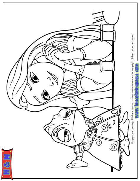 Pascal Tangled Coloring Pages rapunzel looking at pascal in dress coloring page h m