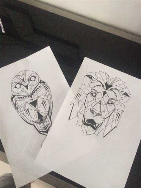 lion geometric tattoo geometric and owl drawings future