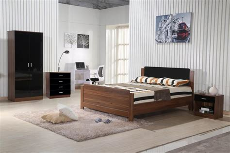 Walnut And Black Gloss Bedroom Furniture Walnut Black Gloss Bedroom Furniture 3 Trio Set Wardrobe Chest Bedside Ebay