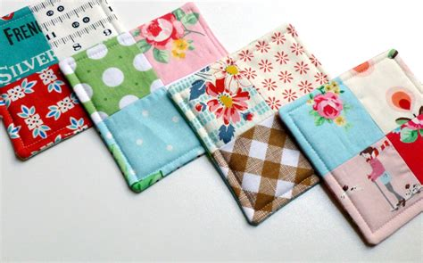 Patchwork Coasters - fabric coasters coaster set patchwork by wheretheorchidsgrow