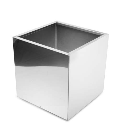 Stainless Steel Planter by Cube Mirrored Stainless Steel Planter 40cm 163 159 99