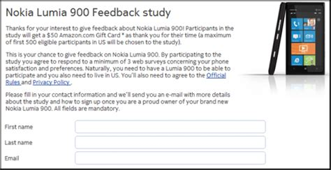 Survey Amazon Gift Card Participants - nokia contacting lumia 900 feedback study participants windows central