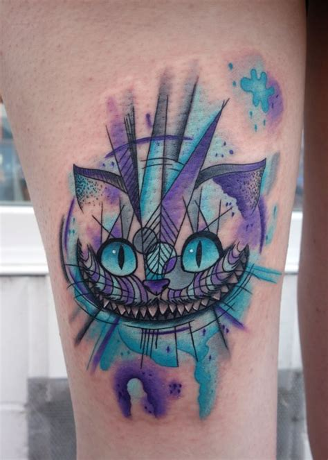 watercolor tattoo hamburg abstrakte grinsekatze cheshirecat