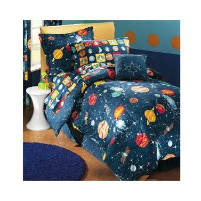 Size Comforter Set Boys Outer Space Theme Bedroom Blue Bedding Ebay Glow In The Planets Outer Space Comforter Size Boy S Galaxy Solar System