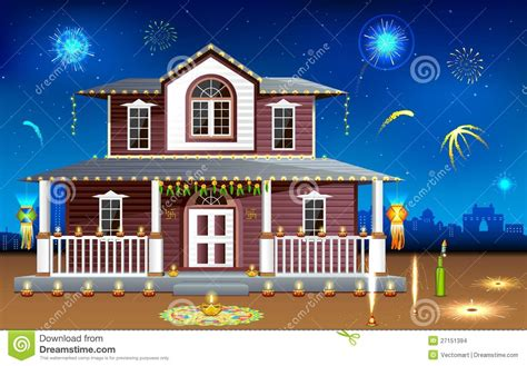 diwali decorating at home raw ayurveda decorated house in diwali night stock images image 27151394